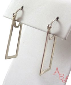 A.B.L. Designers Sterling Silver Vintage 925 Flat Rectangle Drop Latch Earrings (3g)