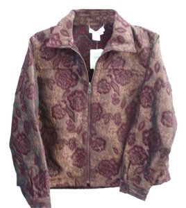 Coldwater Creek Deep red, and copper floral Jacket