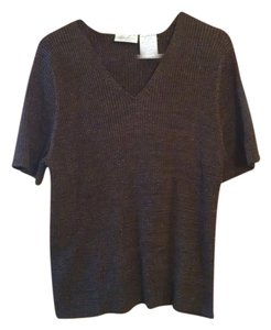Kathie Lee Collection Womens Free Shipping Plus Size Short Sleeved Metallic Shiny Shimmery Batwing V Neck 2x 22 24 New Gift Polyester Knit Sweater