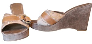 Coach Vintage Suede Leather Camel, Browns,& Creams Wedges