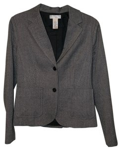 Isaac Mizrahi Herringbone Black and White Blazer