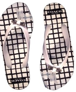 Coach Flip Flop Gingham Black/White Sandals