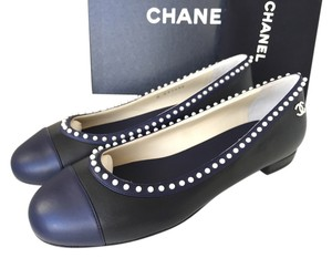 Chanel Ballet Blue Navy Pearls Leather BLACK Flats