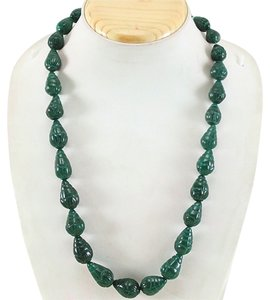 Genuine Emerald Pear Shaped Beads Necklace