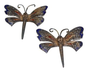 1940s Sterling Silver & Enameled Filigree Dragonfly Brooches, Pair
