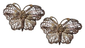 1940s Sterling SIlver Filigree Butterfly Brooches, Pair