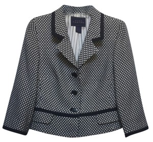 Pink Tartan Silk Jacquard Geometric Wool Trendy Classic Navy Off White Versatile Navy/Off White Blazer