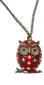 New Owl Pendant Necklace Red Antiqued Gold 26 inch J1388
