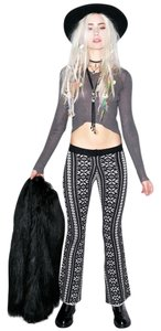 For Love & Lemons Flared Intarsia Knit Leggings