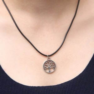 Other New Antique Silver Tree of Life Black Leather -ette Necklace
