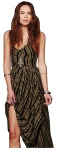 Black/Green Maxi Dress by Free People Midi Hi Lo