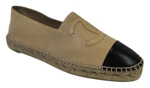 Chanel Espadrilles Black Leather Lambskin Beige Flats