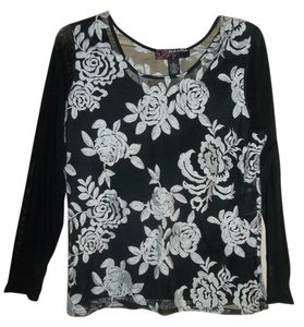 Peck & Peck Sheer Sleeves Embroidery Top Black & White