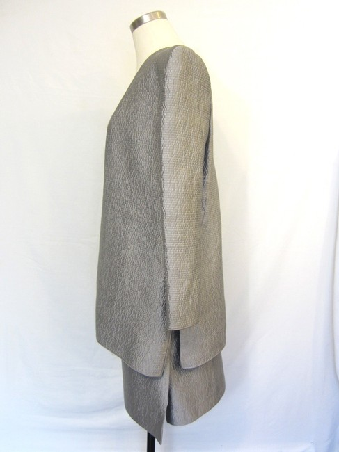 Mary Mcfadden Mary Mcfadden Made to Order 2 PC Silver Grey Textured Skirt Suit Size 10