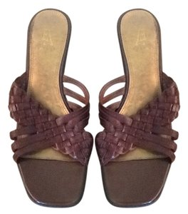 Etienne Aigner Leather Braided Brown Sandals