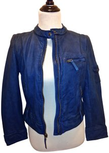 Lucky Brand Leather Leather Genuine Leather Motorcycle Designer Luxury Luxe Jcrew Barney's Christian Louboutin All Saints All Blue Leather Jacket