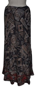 Chico's Stretchy Shapes Beaded Tribal Skirt Black