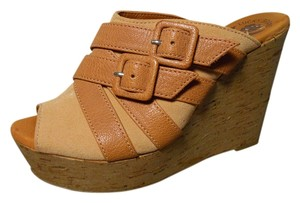 Lucky Brand Leather Platform Wedge tan Sandals