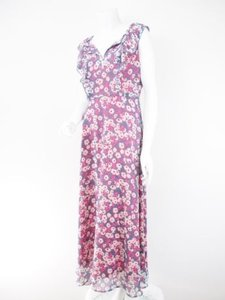 Purple, Pink Maxi Dress by Eva Franco Anthropologie Pink Floral Chiffon Full Maxi