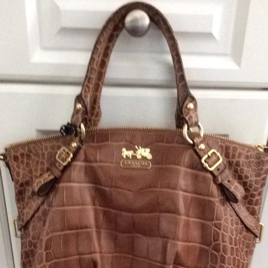 Coach Satchel in Tan With Croc Finish
