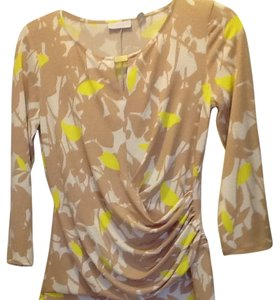 New York & Company Top beige white and yellow