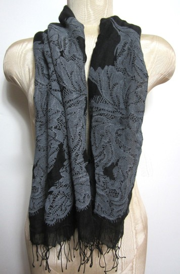 Other Black and Gray Floral Pattern Design Sheer Cotton Blend Scarf with Frigne Detail