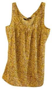 Chadwicks Floral Summer Work Casual Patterns Cute Top Yellow, White, Light Brown