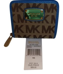 Michael Kors Khaki/Blue Clutch