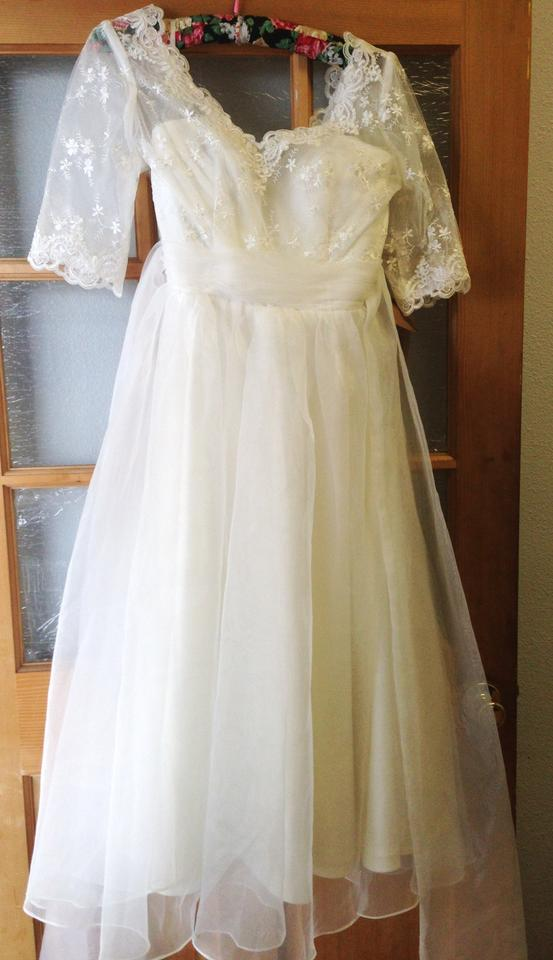Other A Line V Neck Ankle Length Organza Lace Wedding