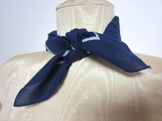 Unbraanded Navy Blue with White Trim Soft Cotton Blend Bandana Scarf
