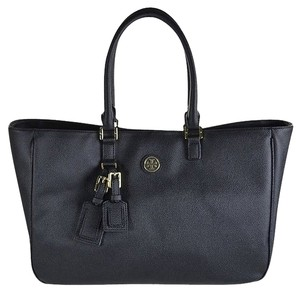 Tory Burch Robinson Stitched Mini Double-zip Robinson Robinson Stiched Robinson Mini Mini Robinson Mini Double Saffiano Leather Tote in Black