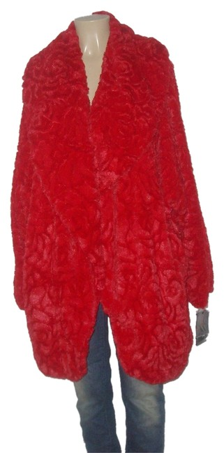 Item - Melon Red New with Tags Rose Patterns Faux 3x Coat Size 28 (Plus 3x)