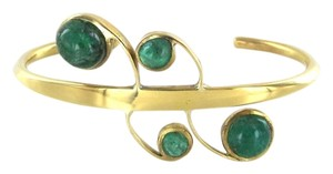 18K SOLID YELLOW GOLD 4 CABOCHON BRACELET VINTAGE BANGLE JEWELRY 25.5 GRAM