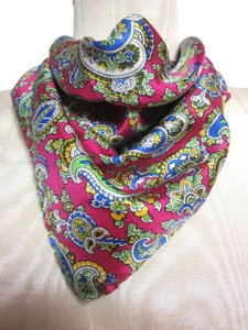 Ralph Lauren Ralph Lauren Collection Pink Yellow Blue Green Paisley Pattern Silk Handkerchief
