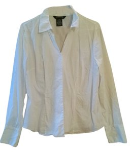 George Ladies Poplin Career Dress Shirt Button Up Stretch Free Ship Sleeved Xl 16 14 18 Top White