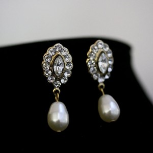 Gold Pearl Crystal Bridal Earrings
