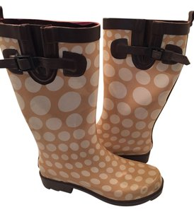 Capelli New York Polka Dot Rain Rubber Fun Tan white brown Boots
