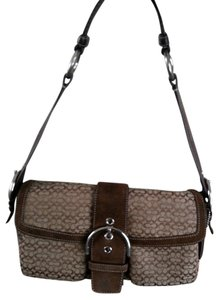 Coach Suede Signature Shoulder Bag