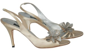 Collette Dinnigan Embellieshed Crystal Satin Sandal Wedding IVORY Pumps