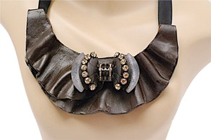 Marni MARNI Leather & Rhinestone Collar-Rhinestone Bow can be worn separately-Fabulous