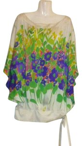 Zara Batwing Butterfly Silk Top White, Multi