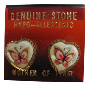 OTHER NEW ON CARD HEART EARRINGS GENUINE STONE