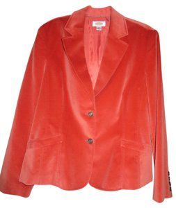 Talbots Velvet Silk Cotton Orange Blazer