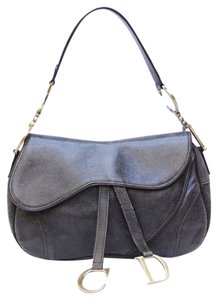 Dior Christian Saddle Handbag Leather Distressed Shoulder Bag