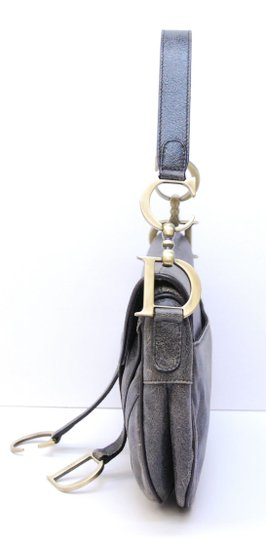 Dior Christian Saddle Handbag Leather Distressed Purse Shoulder Bag