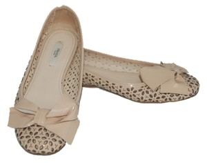 Prada Leather Cut-out Sparkle Glitter nude/pink Flats