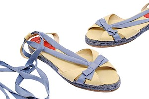 Christian Louboutin Espadrille Linen Ankle Strap Blue with Beige Sandals