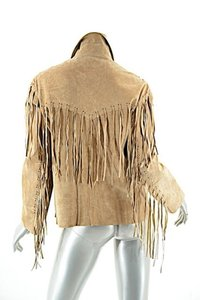 TASHA POLIZZI for T.P. Saddle Blanket & Co T P Suede Fringe Tan Leather Jacket