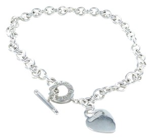 Tiffany & Co. TIFFANY & CO STERLING SILVER HEART TAG TOGGLE CHOKER NECKLACE CHAIN LINK 78.6 GR