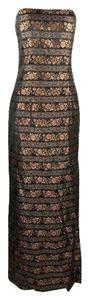 Jessica McClintock #metallic #strapless #copper #jacquard #jessicamcclintock Dress